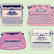 Typewriters Pink &amp; Mint
