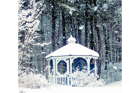 Snowy Gazebo Blue fabric by karenharveycox on Spoonflower - custom fabric
