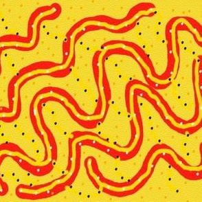 Orange Snakes Slithering on Peppered Yellow