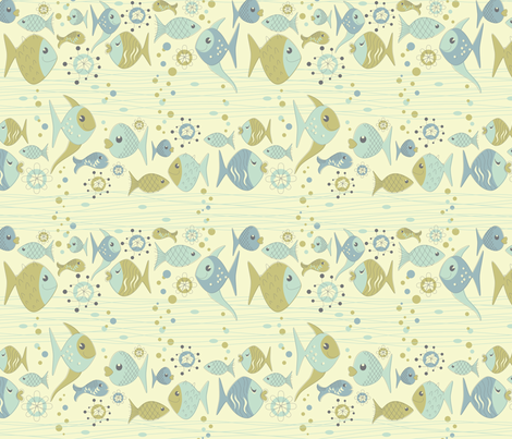 Waves and little fishes fabric by roarin_betty on Spoonflower - custom fabric