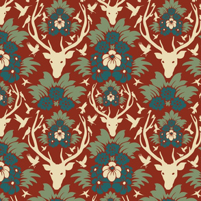 Stag head damask