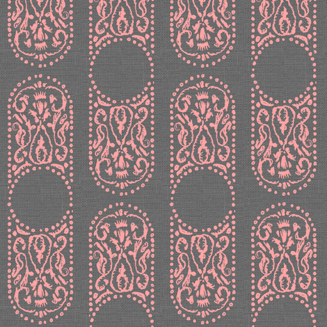CARTOUCHE - smoke and blush fabric by marcador on Spoonflower - custom fabric