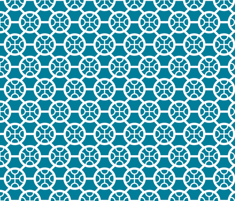 CircleHexa_Blue fabric by greenmarrow on Spoonflower - custom fabric