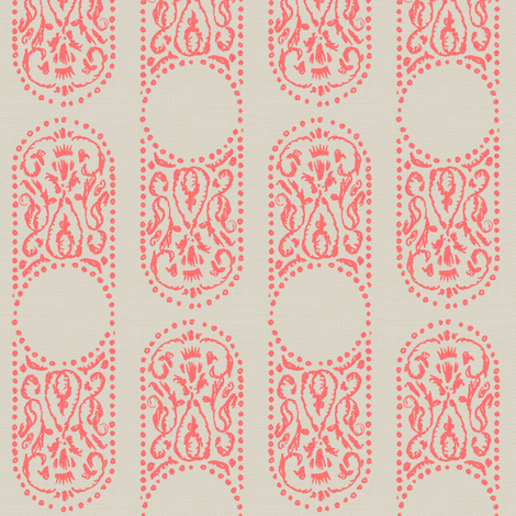 CARTOUCHE - coral and linen fabric by marcador on Spoonflower - custom fabric