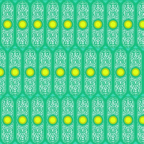 CARTOUCHE - emerald and lemon zest fabric by marcador on Spoonflower - custom fabric