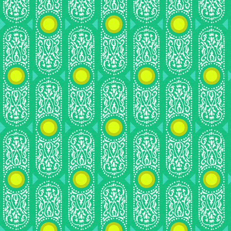 CARTOUCHE - BRIGHT emerald and lemon zest fabric by marcador on Spoonflower - custom fabric