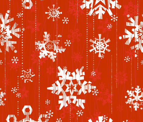 Snow - Red fabric by friztin on Spoonflower - custom fabric
