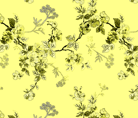 Yellow Dog Rose Toon fabric by dmhparis on Spoonflower - custom fabric