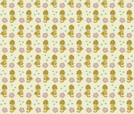 Sunset Garden Kittens fabric by thalita_dol on Spoonflower - custom fabric