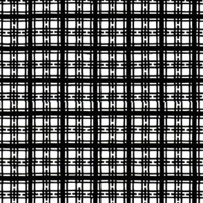 Asian plaid - black and white