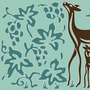 Art & Crafts deer & grapes - vector large - brown-30 minagreen spoonflower-blue-157