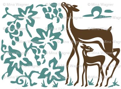 Art & Crafts deer & grapes - vector large - brown-30 minagreen-WHITE