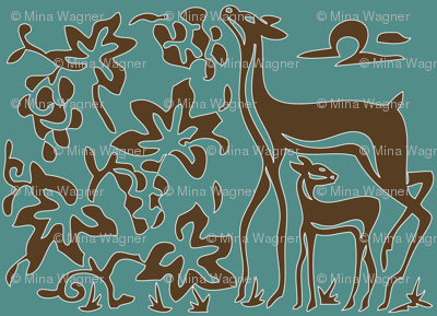 Art &amp; Crafts deer &amp; grapes - vector large - brown-30 on minagreen white-lines