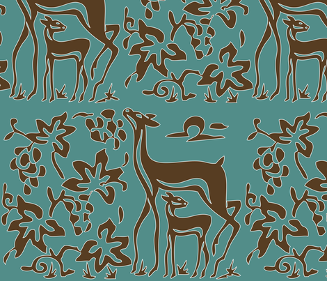 Art &amp; Crafts deer &amp; grapes - vector large - brown-30 on minagreen white-lines fabric by mina on Spoonflower - custom fabric