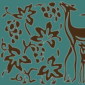 Art & Crafts deer & grapes - vector large - brown-30 on minagreen white-lines