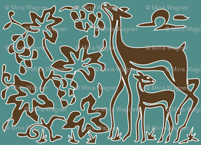 Art &amp; Crafts deer &amp; grapes - vector large - brown-30 on minagreen - white-lines-batik