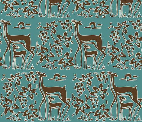 Art &amp; Crafts deer &amp; grapes - vector large - brown-30 on minagreen - white-lines-batik fabric by mina on Spoonflower - custom fabric