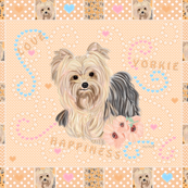 Yorkie Tangerine Cheater Quilt Panel 42x36""