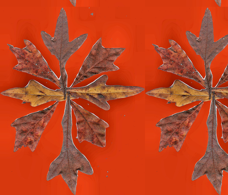 Leaves_on_Red fabric by silverspoon on Spoonflower - custom fabric