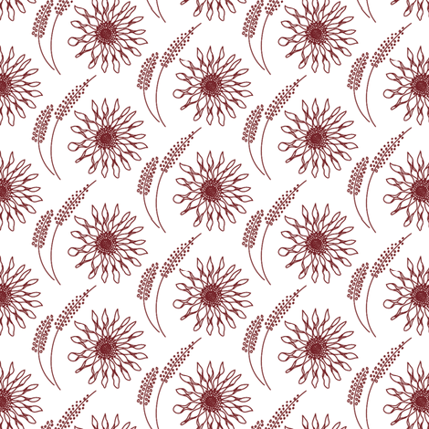 Flowers - Burgundy fabric by ivoryshades on Spoonflower - custom fabric