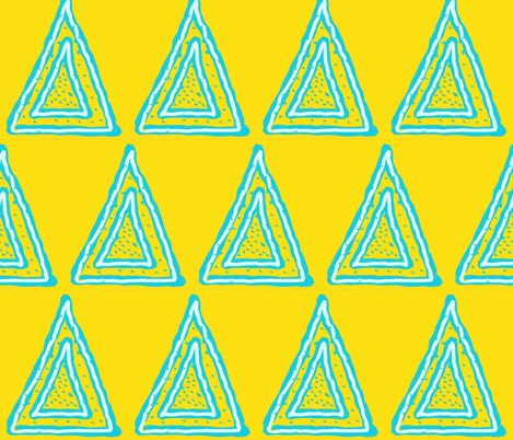Turquoise Triangles on Bright Yellow fabric by anniedeb on Spoonflower - custom fabric