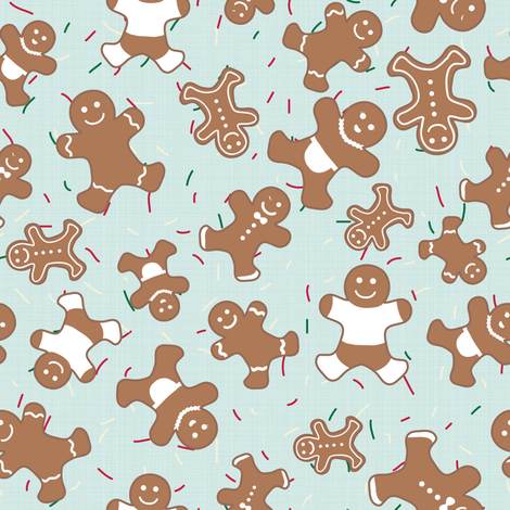 Gingerbread cookies fabric by seabluestudio on Spoonflower - custom fabric