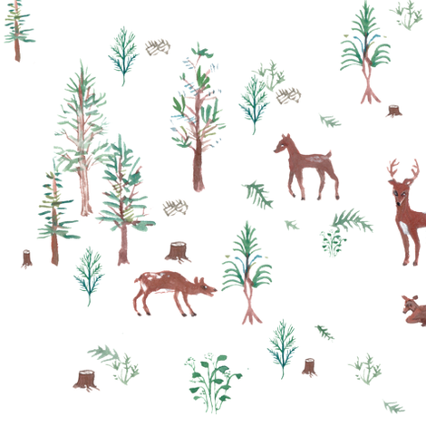 Deer Forest fabric by wilderness on Spoonflower - custom fabric