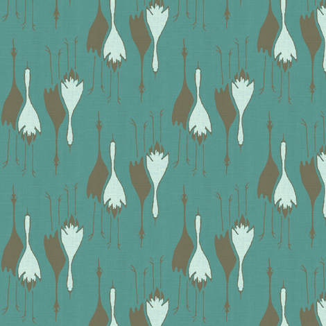 Cranes- teal/brown, light blue fabric by materialsgirl on Spoonflower - custom fabric