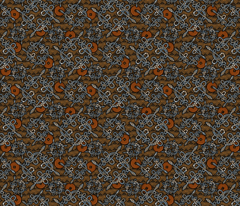 snake_knots_blue_and_copper fabric by glimmericks on Spoonflower - custom fabric