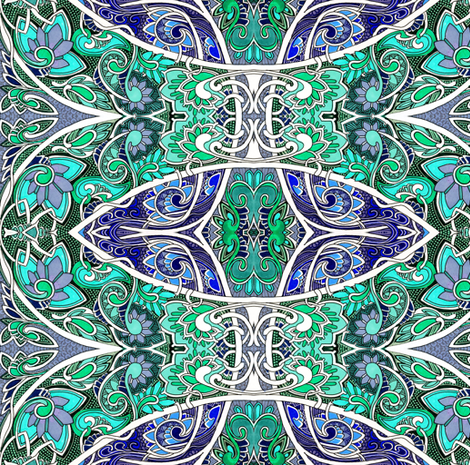 Swirly Curly Blue Green Garden fabric by edsel2084 on Spoonflower - custom fabric