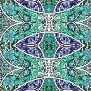 Swirly Curly Blue Green Garden
