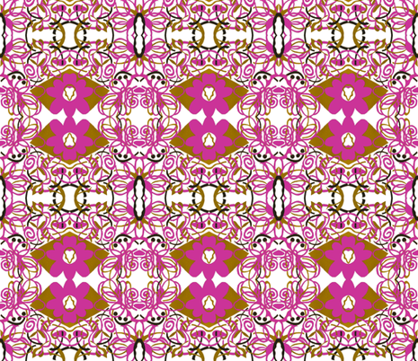 Sharon Collection: Pink String Floral fabric by miss_hattie on Spoonflower - custom fabric