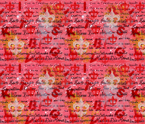Pink art with writing and Fleur-de-lis fabric by martaharvey on Spoonflower - custom fabric