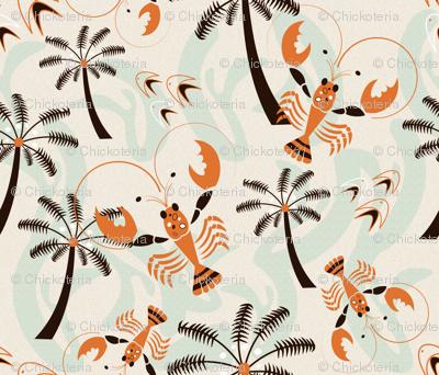 Retro Hawaiian Lobsters 50s Style