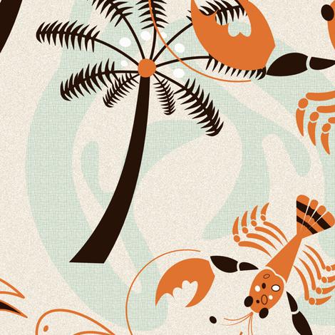 Retro Hawaiian Lobsters 50s Style fabric by chickoteria on Spoonflower - custom fabric