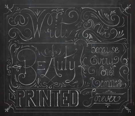 Julie's Calligraphy- ChalkBoard fabric by juliesfabrics on Spoonflower - custom fabric