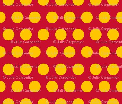 "Polka Dot - Yellow on Red 2"""