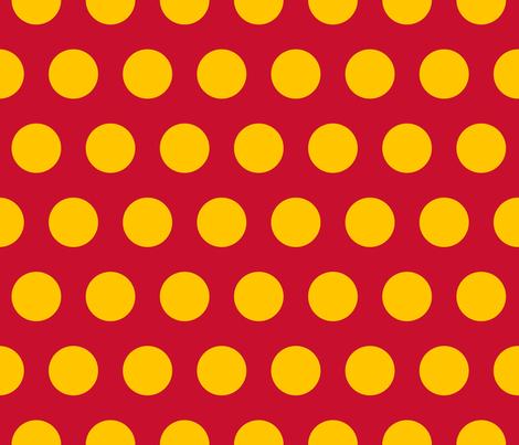 "Polka Dot - Yellow on Red 2"" fabric by juliesfabrics on Spoonflower - custom fabric"