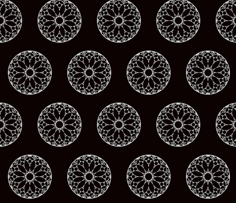 White lace doilies on black background fabric by abstract_design on Spoonflower - custom fabric