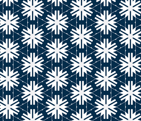 Snowflakes on Blue fabric by stoflab on Spoonflower - custom fabric