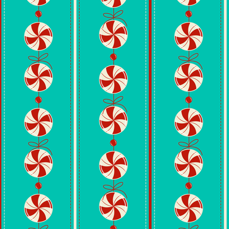 Peppermint Candy Garland Strings ~ chilly fabric by retrorudolphs on Spoonflower - custom fabric