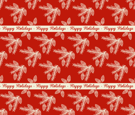 Pine sprays ~ Happy Holidays fabric by retrorudolphs on Spoonflower - custom fabric