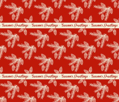 Pine sprays ~ Season's Greetings fabric by retrorudolphs on Spoonflower - custom fabric