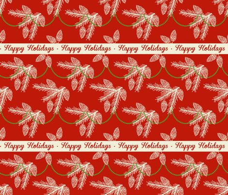Pine sprays with bead garland ~ Happy Holidays fabric by retrorudolphs on Spoonflower - custom fabric