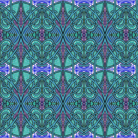 Hippie Trippy Tiffy Teal fabric by edsel2084 on Spoonflower - custom fabric