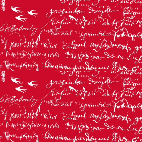 Red and white French script for Love is in the Air fabric by karenharveycox on Spoonflower - custom fabric