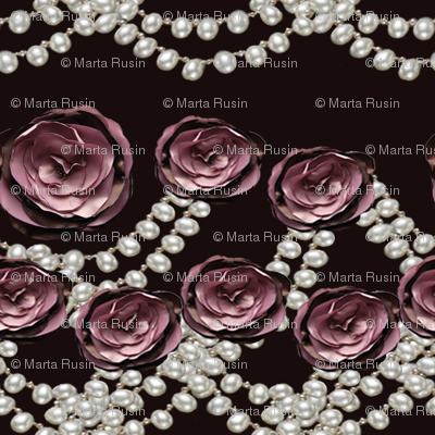 roses and pearls lined on black