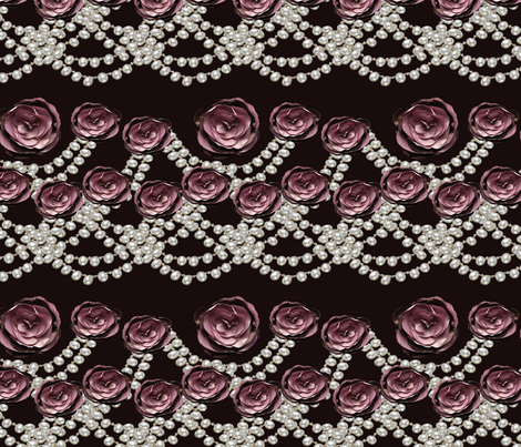 roses and pearls lined on black fabric by kociara on Spoonflower - custom fabric