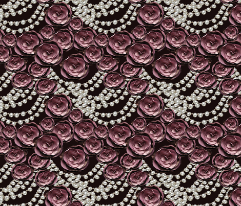 roses and pearls layered on black fabric by kociara on Spoonflower - custom fabric
