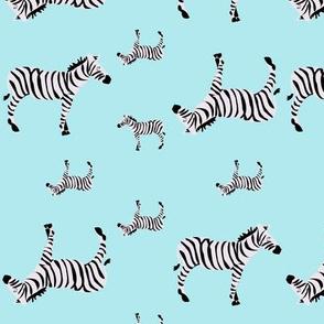Sleepy Zebras on Aqua